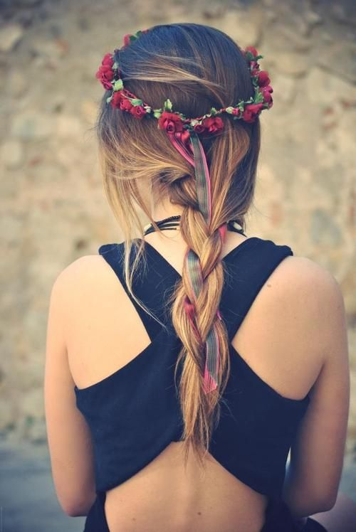 Ribbon Braided Hairstyle with Red Flower