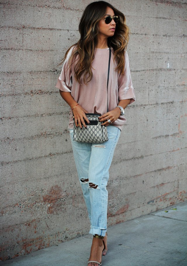 Ripped Jeans Outfit Idea with Ankle Strap Shoes