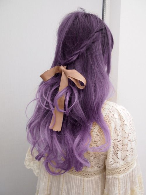 Romantic Hairstyle for Purple Hair
