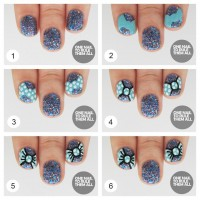 Sequined Bow Nail Design