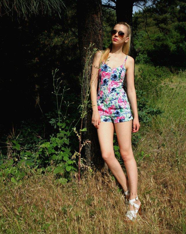 Short Floral Jumpsuit