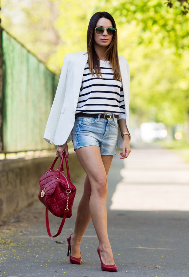 Denim Shorts and White Blazer Outfit