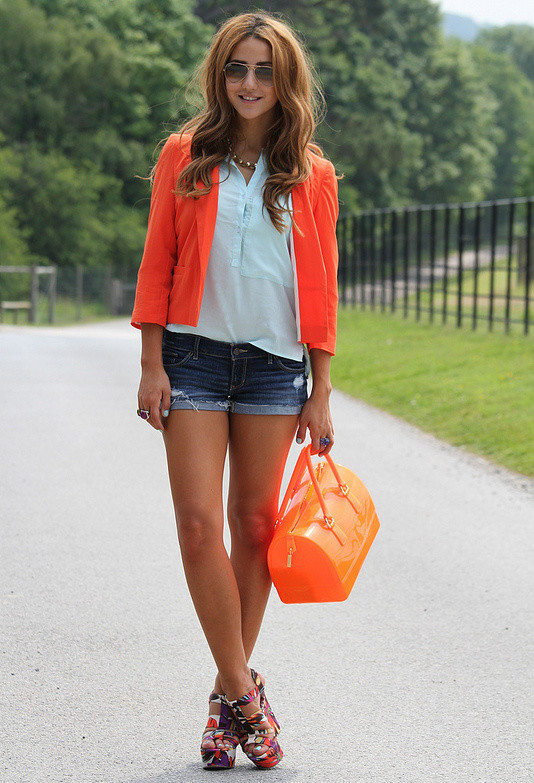 Shorts and Bright Colored Blazer