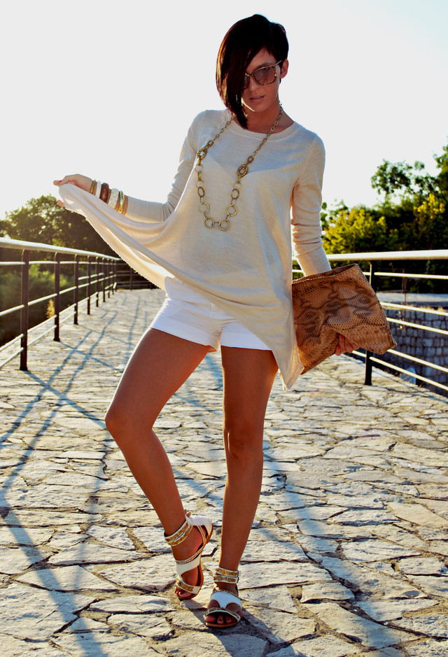 All White Outfit Idea with Shorts