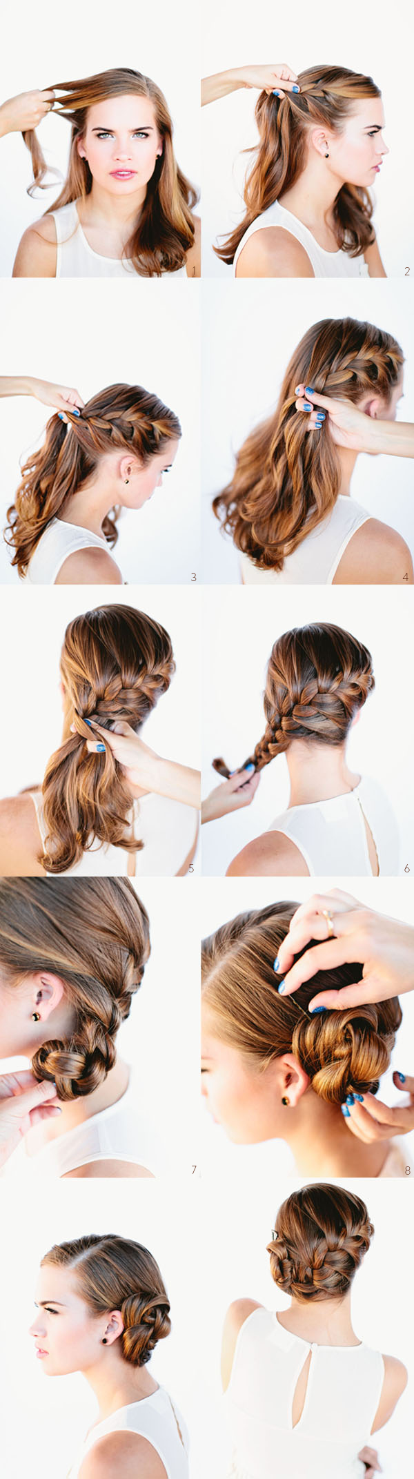 Side French Braid Bun