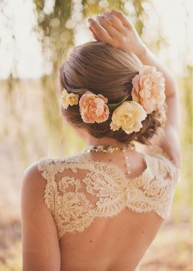 Bridal Updo Flower : Romantic braided wedding hairstyles with beautiful flowers