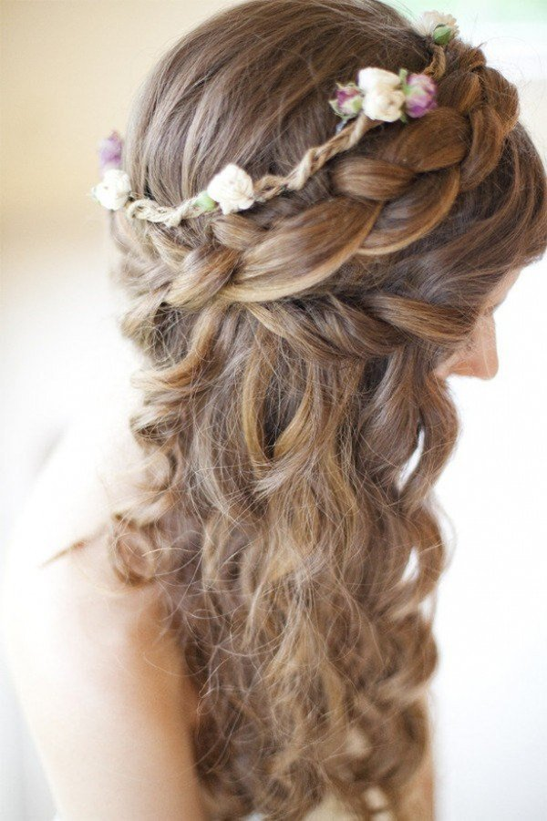 Enjoyable Romantic Braided Wedding Hairstyles With Beautiful Flowers Hairstyles For Women Draintrainus