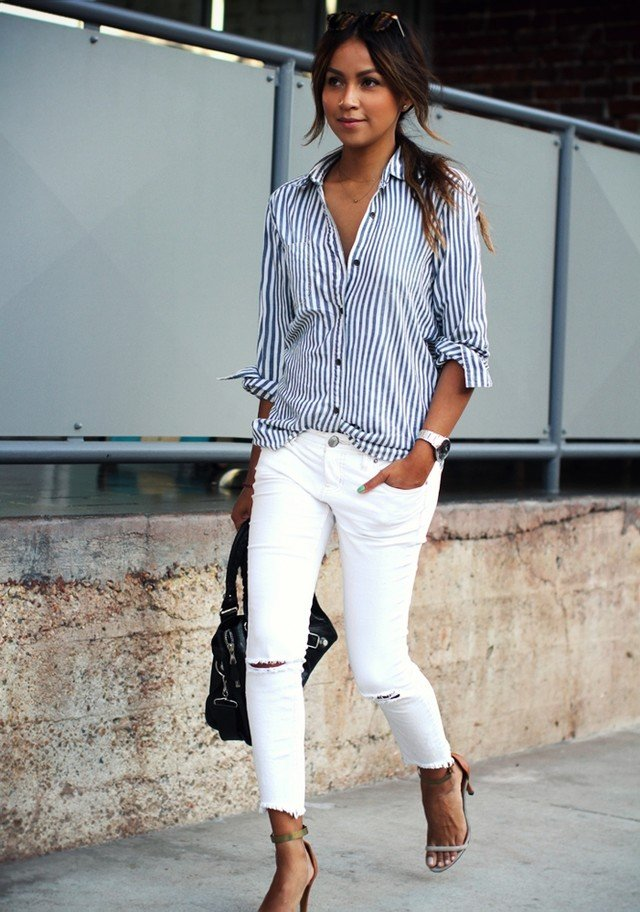 White blouse and jeans outfit for White pants denim shirt