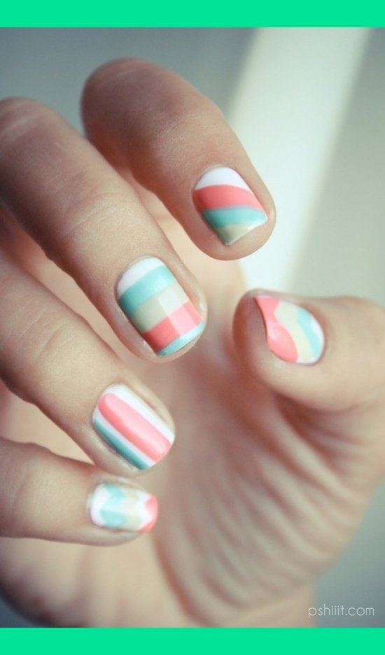 Striped Pastel Nail Design