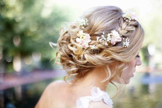 Romantic braided wedding hairstyles with beautiful flowers pretty stunning updo wedding hairstyle with flower junglespirit Images