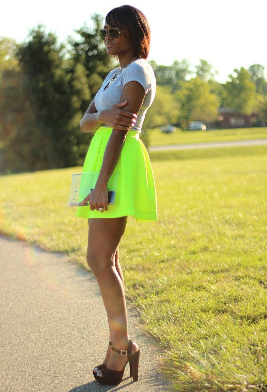 Summer Outfit Idea with Bright Skirt