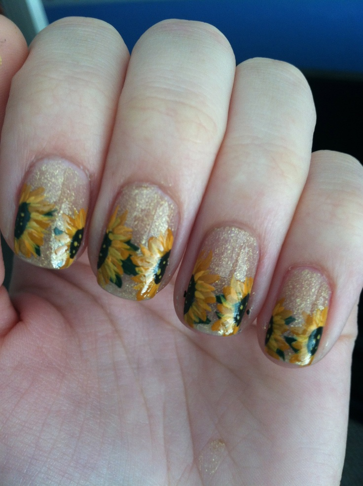 Sunflower Nails with Glitter - 15 Sunflower Nail Designs For The Season - Pretty Designs