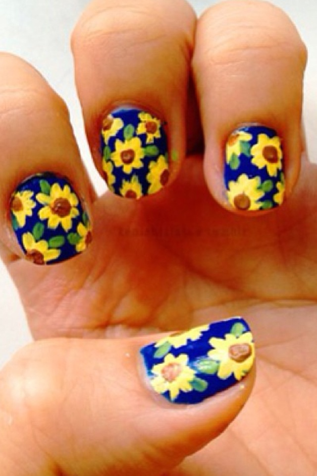 Sunflower Nails - 15 Sunflower Nail Designs For The Season - Pretty Designs