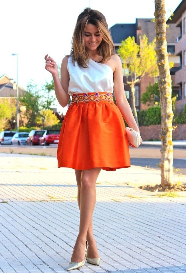 Sweet Orange Dress Outfit Idea