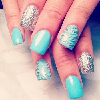15 teal nail designs pretty designs teal nail with animal print prinsesfo Images