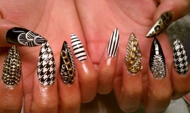 Tribal Stiletto Nails