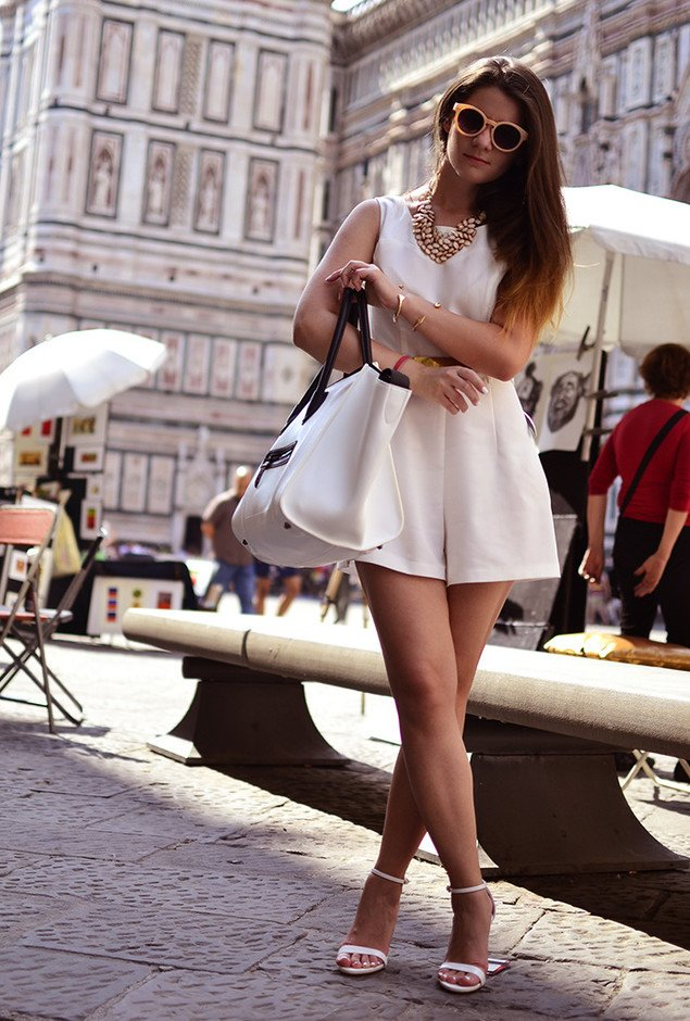 White Dress Outfit with Ankle Strap Shoes