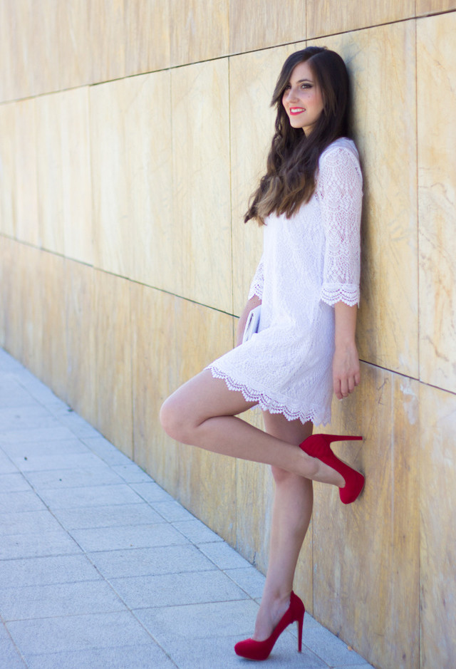 White Dress Outfit with Red Pumps