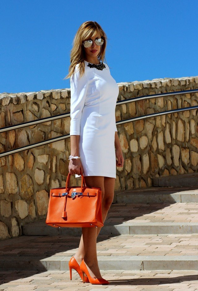 White Dress with Orange Bag and Pumps