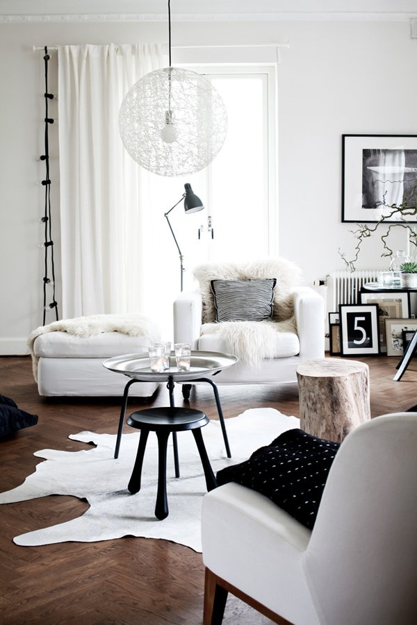 White Furniture and Black Pillow