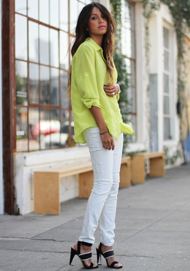 White Jeans Outfit Idea with Bright Colored Blouse