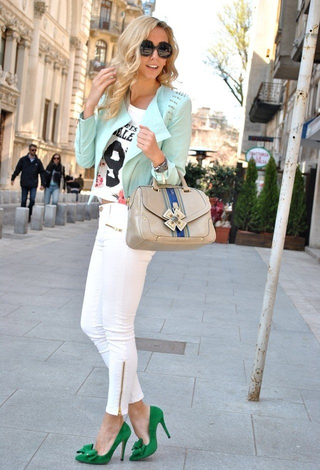 White Jeans Outfit Idea with Pastel Jacket