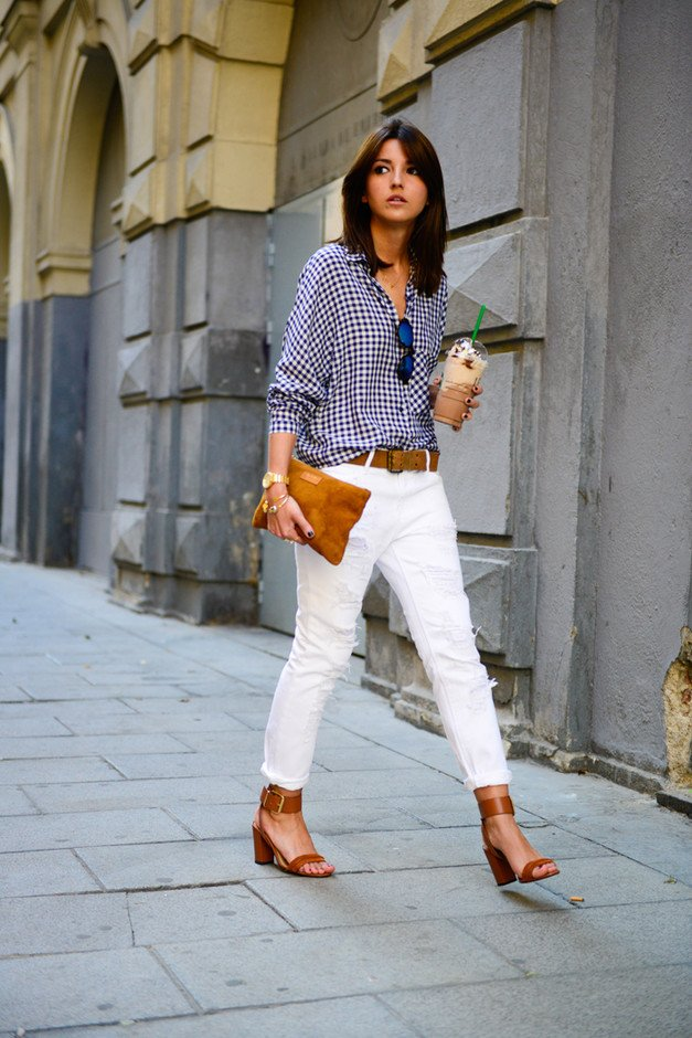 White Jeans Outfit Idea with Plaid Blouse
