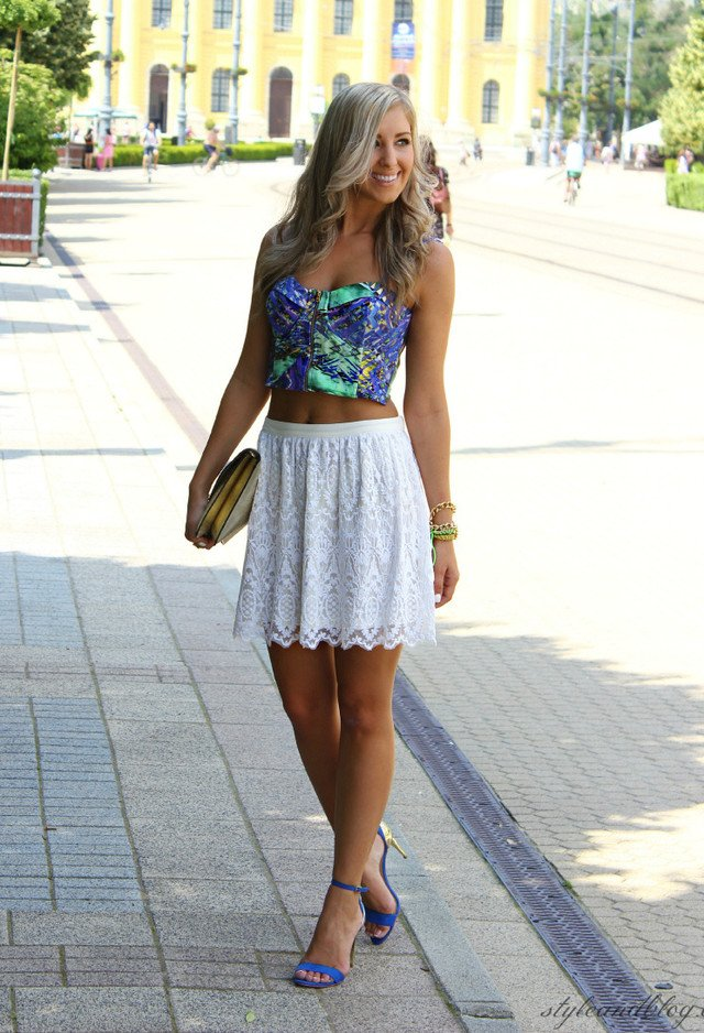White Skirt Outfit with Blue Ankle Strap Shoes