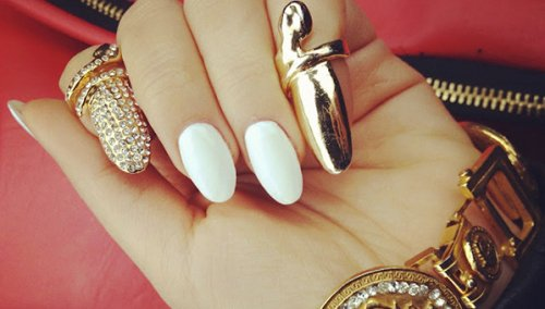 White And Gold Stiletto Nails