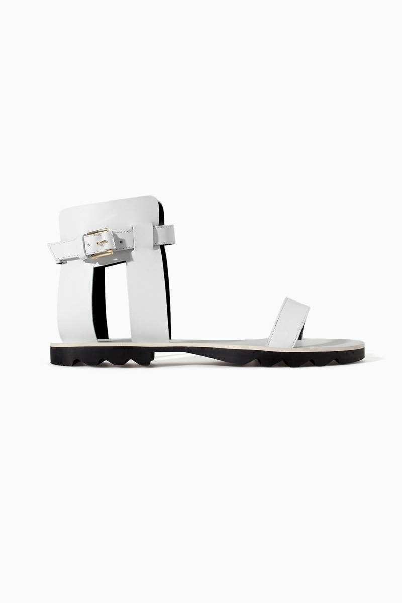 Zara Leather Sandals with Track Sole, $69