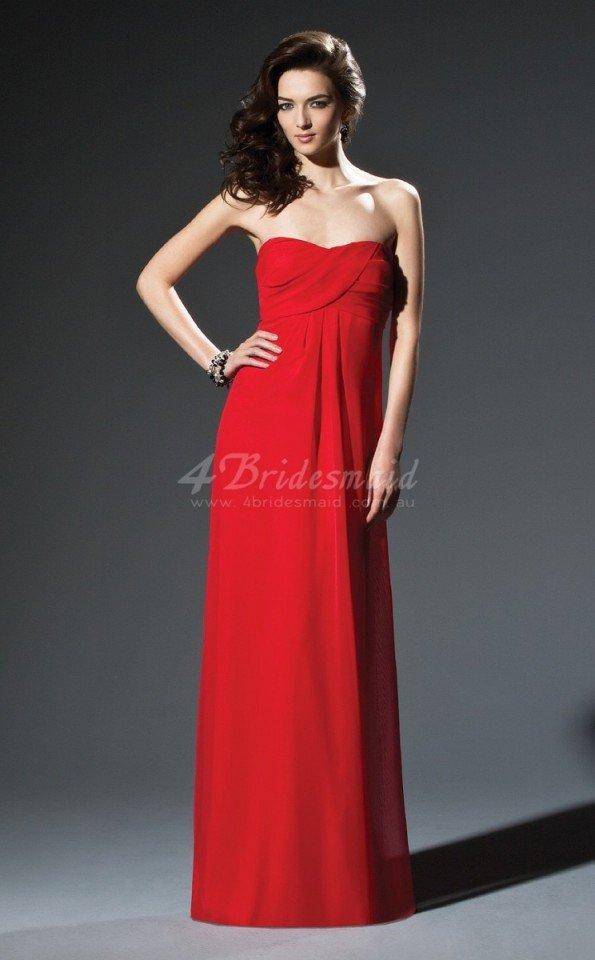 red chiffon sheath sweetheart floor-length bridesmaid dresses