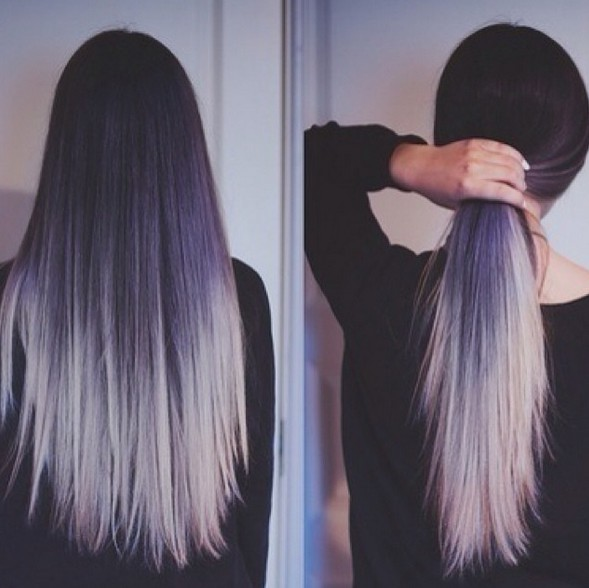 Pueple to silver hairstyle for long straight hair tumblr