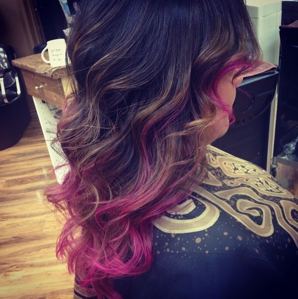 the gallery for gt brown hair with pink and purple tips