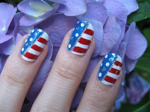 American Flag Inspired Nail Design