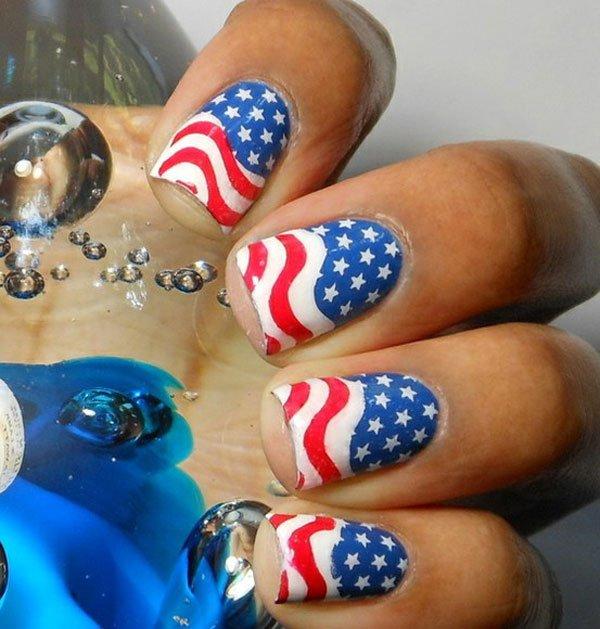 Interesting American Flag Inspired Nail Design