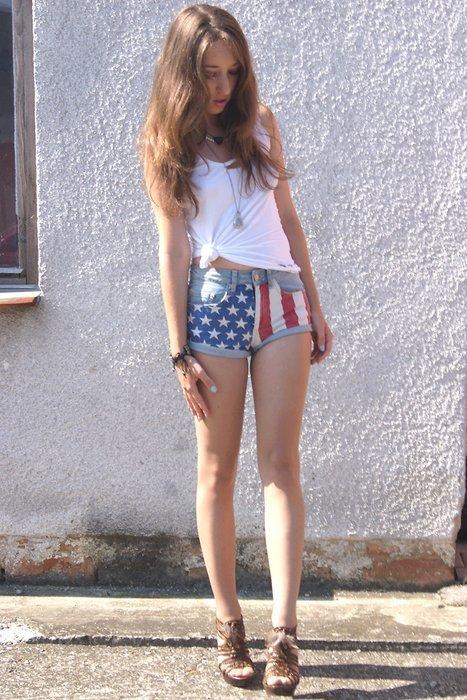 American Flag Printed Shorts