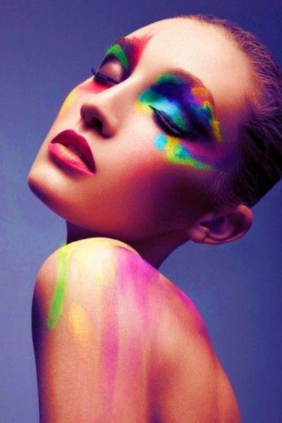 Artistic Colorful Eyes - Neon Makeup Look