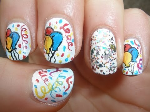 14 lovely nail designs for your kids birthday party pretty designs balloon nail design prinsesfo Choice Image