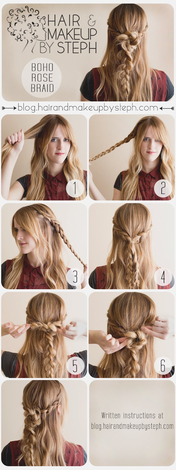 Beautiful Boho Rose Braid Hairstyle Tutorial