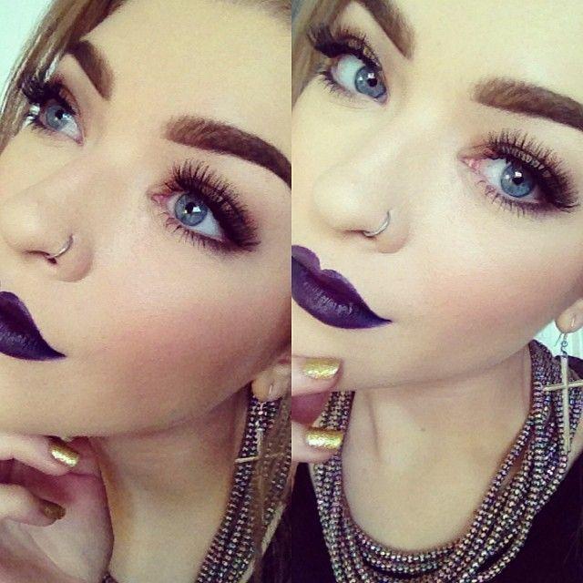 Beautiful Dark Purple Lips Makeup