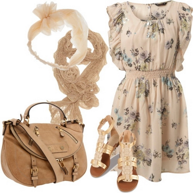 Beautiful Floral Dress Outfit Idea