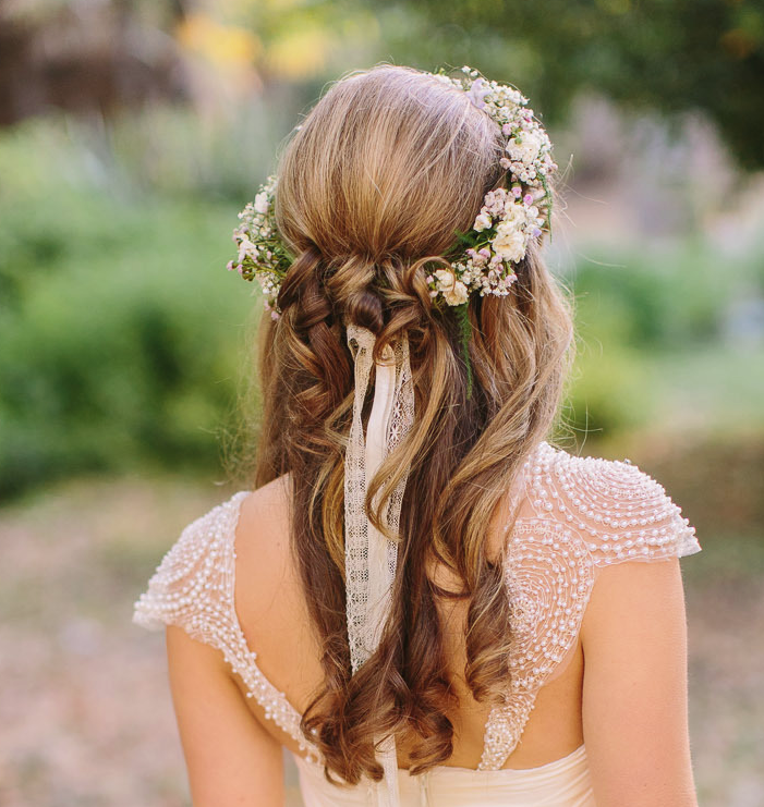 Beautiful Wedding Hairstyle with Flower Crown