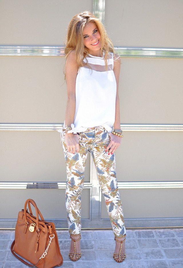 Beautiful White Outfit with Printed Pants