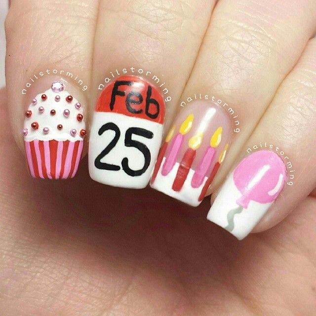 Birthday Themed Nail Arts - Pretty Designs