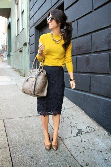 Black Lace Skirt Outfit Idea