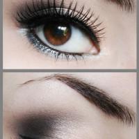 Black Shimmery Grey Smokey Eye Makeup