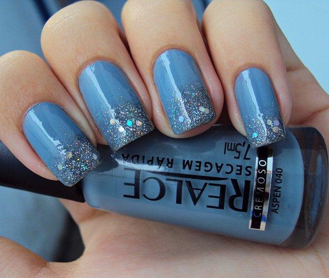 Blue Embellished Nails
