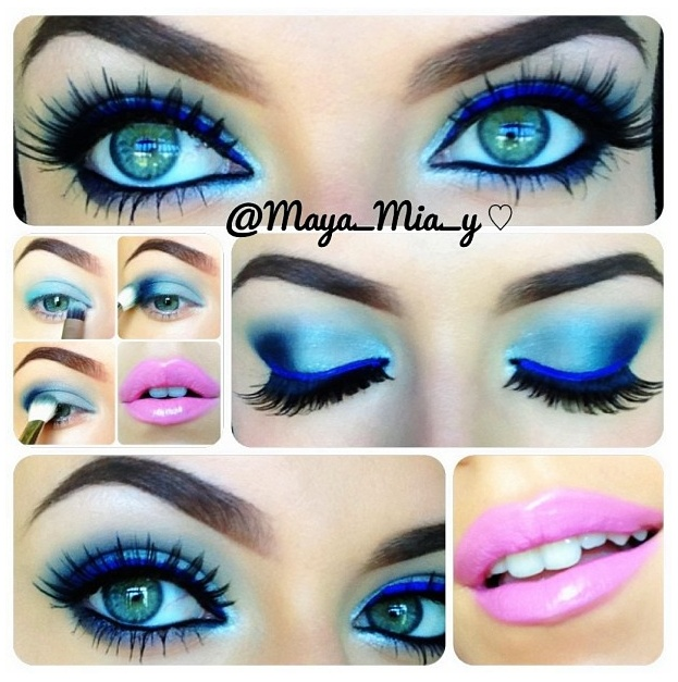 Blue Eye Makeup With Blue Eyeliner