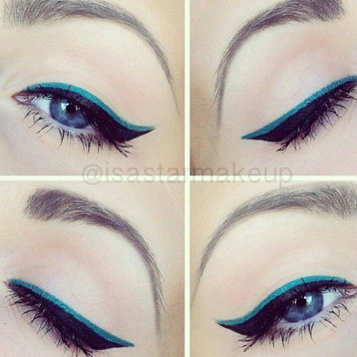 Blue Eyeliner With Nude Shadow