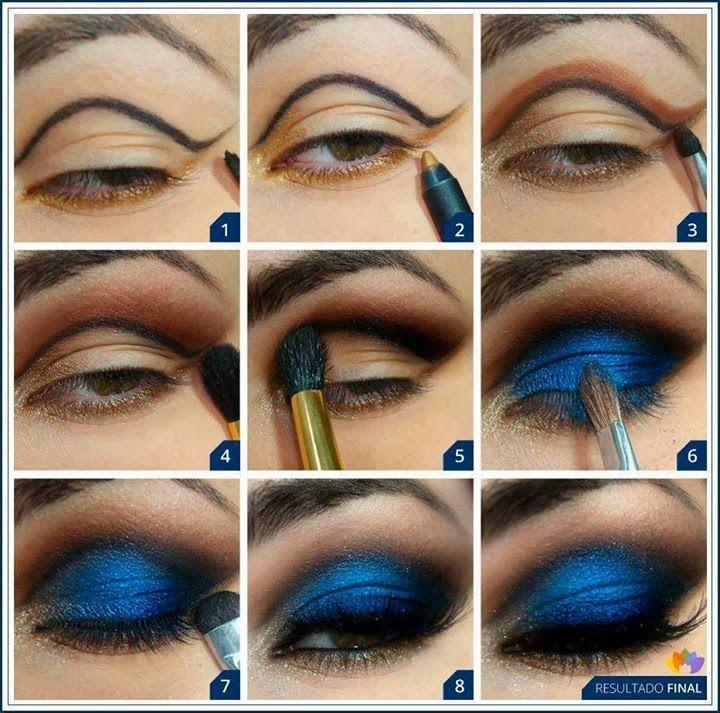 синие тени в макияже карих глаз фото